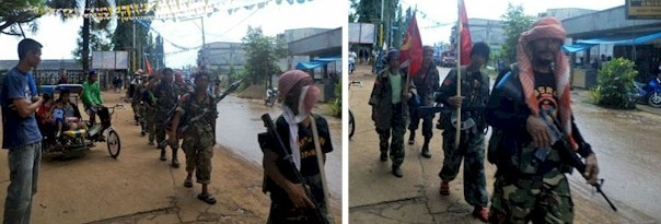 Elements of Moro National Liberation Front (MNLF) in Armed Defensive Formation, marching towards their Strategic Convergence Zones. Lamitan City, Province of Basilan, Mindanao Island. 09 July 2013. Photo by Richard Falcatan.